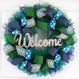 Year Round Door Wreaths | Spring Mesh Welcome Door Wreath | Navy Turquoise