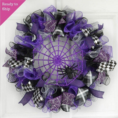 Purple Spider Web Halloween Door Wreath | Sparkly Black Mesh Wreath