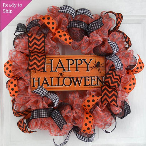 Halloween Wreath Decorations | Spider Deco Mesh Front Door Wreath; Orange Black - Pink Door Wreaths