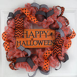Halloween Wreath Decorations | Spider Deco Mesh Front Door Wreath; Orange Black