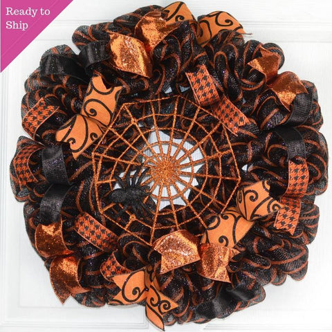 Halloween Glitter Spider Web Mesh Door Wreath | Black Orange - Pink Door Wreaths