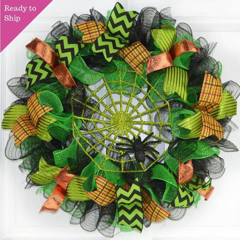 Spider Web Halloween Door Wreath | Lime Green Black Mesh Wreath