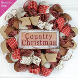 Country Christmas Wreath | Rustic Holiday Decor | Red Jute Ivory
