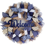 Everyday Navy Blue Wreath | Mother Unique Gift | Navy Blue Burlap Jute White