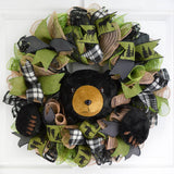 Black Bear Wreath | Woods Lodge Decor | Green Brown Black