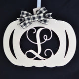 Ivory Pumpkin Decor | Farmhouse Buffalo Plaid Pumpkin Initial Door Hanger - Pink Door Wreaths