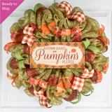 Thanksgiving Front Door Mesh Wreath - Autumn Leaves Pumpkins Please - Orange Burgundy Green
