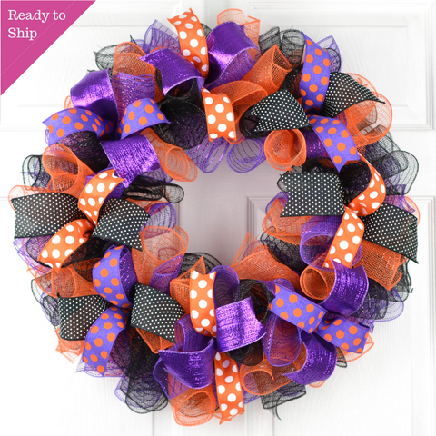 Halloween Mesh Front Door Wreath | Black Orange Purple - Pink Door Wreaths