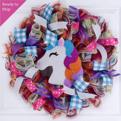 Unicorn Door Wreath - Little Girls Room Decor - Birthday Party Decoration - Pink Purple Turquoise - Pink Door Wreaths