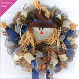 Scarecrow Door Wreath | Blue Brown Thanksgiving Deco Mesh Front Door Wreath