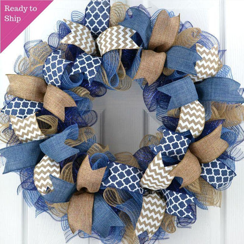 Mother's Day Everyday Wreath | Birthday Gift for Her | Year Round Wreath | Denim Navy Blue Burlap - Pink Door Wreaths