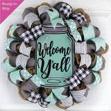 Welcome Y'all Mason Jar Wreath | Grey Burlap Spring Decor | Wedding Gift | Mint Black White