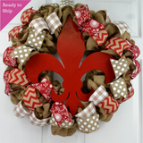Fleur de Lis Wreath | Burlap Door Wreath | Red White Wreath