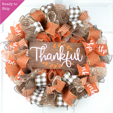Thankful Buffalo Check Fall Thanksgiving Wreath | Orange White Brown