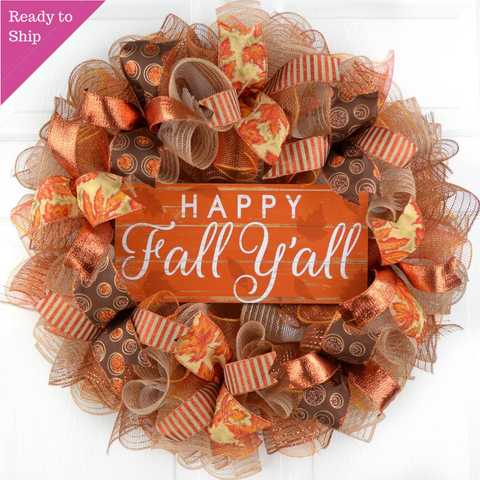 Happy Fall Y'all Wreath | Thanksgiving Deco Mesh Front Door Wreath - Pink Door Wreaths