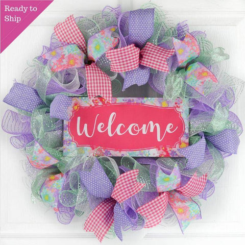 Welcome Floral Welcome Wreath - Everyday Watercolor Spring Decor - Wedding Gift - Purple Mint Pink