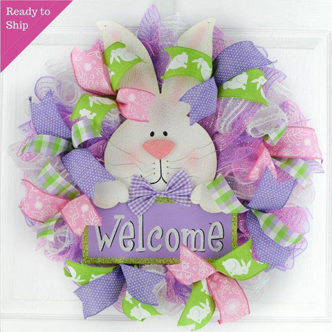 Easter Bunny Door Wreath - Easter Door Wreath - Spring Welcome Decor - Pink Purple Lime Green White