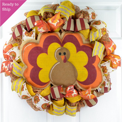 Burlap Thanksgiving Turkey Wreath - Fall Deco Mesh Wreath -