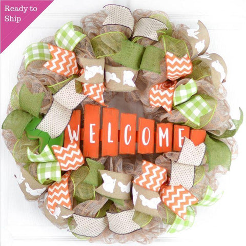 Jute Easter Carrot Wreath - Summer Spring Welcome Door Wreath - Orange Lime Green