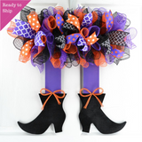 Witch Skirt Legs Halloween Mesh Door Wreath | Black Orange Purple