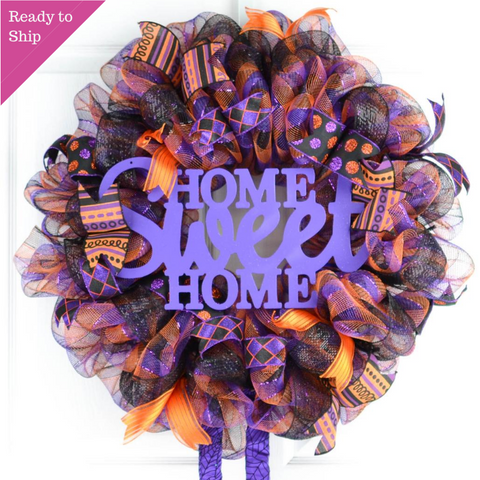 Halloween Wreath | Home Sweet Home Witch Front Door Wreath | Purple Orange Black - Pink Door Wreaths