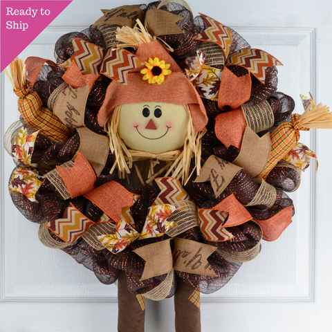 Scarecrow Wreath | Thanksgiving Deco Mesh Fall Front Door Wreath
