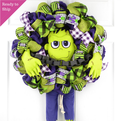 Frankenstein Front Door Wreaths | Halloween Decorations | Burlap Purple Lime Green Black White - Pink Door Wreaths
