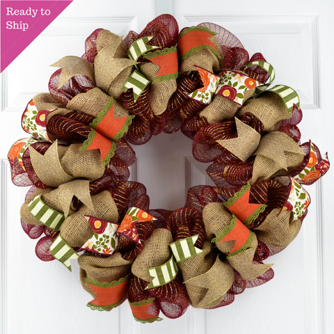 Autumn Wreath - Rustic Fall Thanksgiving Deco Mesh Front Door Wreath; Burgundy Burlap Maroon Orange Green