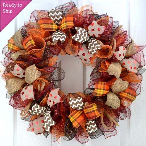 Fall Wreaths | Maroon Orange Fall Thanksgiving Burlap Deco Mesh Door Wreath; Yellow White Red