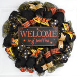 Welcome My Pretties Wreath | Halloween Witch Front Door Wreath | Black Orange Gold - Pink Door Wreaths