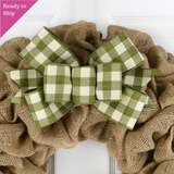 Moss Green and white buffalo plaid bow on a burlap wreath