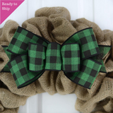 Emerald Green and Black buffalo plaid bow on a burlap wreath