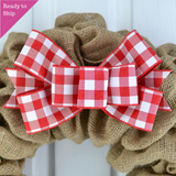 Buffalo Plaid Add On Wreath Bow - Wreath Embellishment for Already Made Wreath - Farmhouse Extra - Pink Door Wreaths