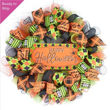 Happy Halloween Wreaths | Mesh Outdoor Front Door Wreath; Black Orange Purple Lime Green…