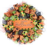 Happy Halloween Wreaths | Mesh Outdoor Front Door Wreath; Black Orange Purple Lime Green… - Pink Door Wreaths