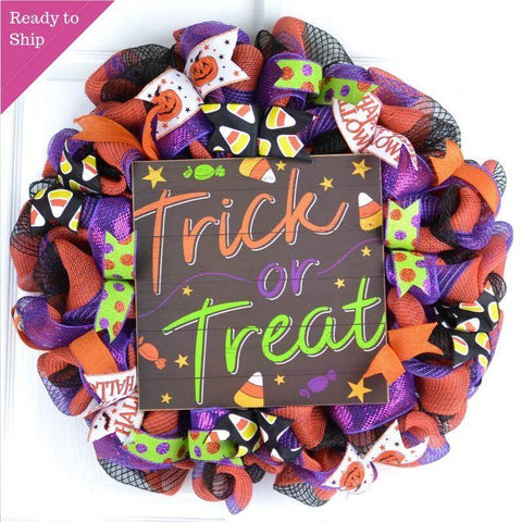 Trick or Treat Door Wreath | Orange Black Halloween Front Door Wreath