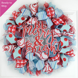 Merry and Bright Christmas Wreath - Red and Turquoise Holiday Decor Mesh Front Door Wreath