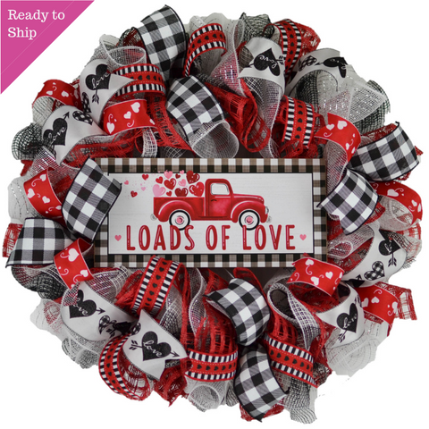 Red black and white valentine's day wreath