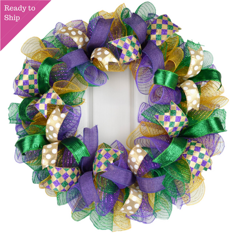 Mardi Gras Fat Tuesday Mesh Door Wreath | Purple Emerald Green Gold