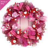 Valentine's Day Wreath - Valentines Mesh Door Wreath - Valentine Wreath - Pink Door Wreaths