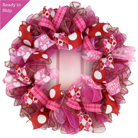Valentine's Day Wreath - Valentines Mesh Door Wreath - Valentine Wreath