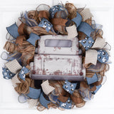 White Truck Wreath -Farmhouse Year Round Decor