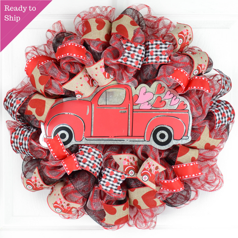 Valentine's Day Mesh Door Wreath - Rustic Truck Red White Black Gray Burlap Buffalo Plaid