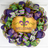 Mardi Gras Wreath - Burlap Fat Tuesday Mesh Front Door Wreath - Purple Emerald Green Gold