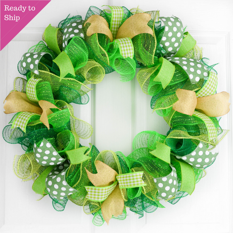 St Patricks Day Wreath | Clover Wreath | Mesh Door Wreath - Pink Door Wreaths