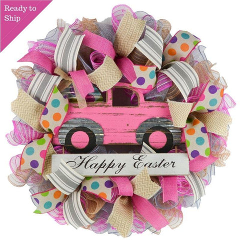 Easter wreath in pink and grey with truck in middle
