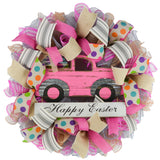 Happy Easter truck wreath with pink and grey ribbons and mesh