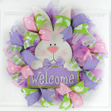 Easter Bunny Door Wreath - Easter Door Wreath - Spring Welcome Decor - Pink Purple Lime Green White - Pink Door Wreaths