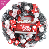 Black and White wreath with red truck sign that says Play Ball