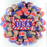 4th of July USA Navy and Red Burlap Front Door Wreath
